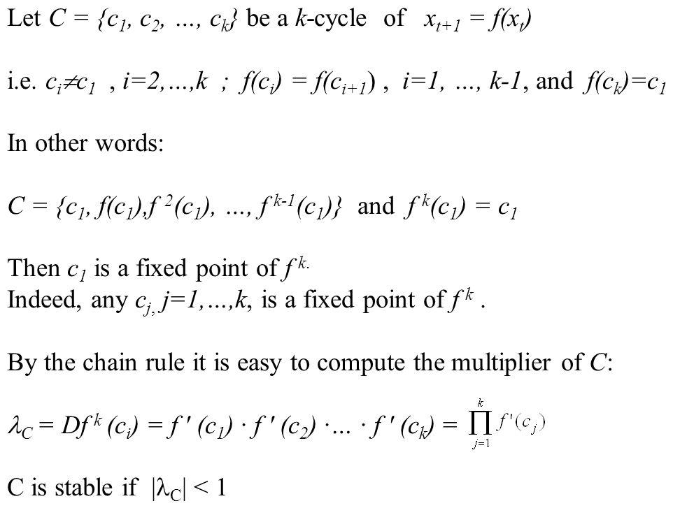 Let C = {c 1, c 2, …, c k } be a k-cycle of x t+1 = f(x t ) i.e. c i  c 1, i=2,…,k ; f(c i ) = f(c i+1 ), i=1, …, k-1, and f(c k )=c 1 In other words