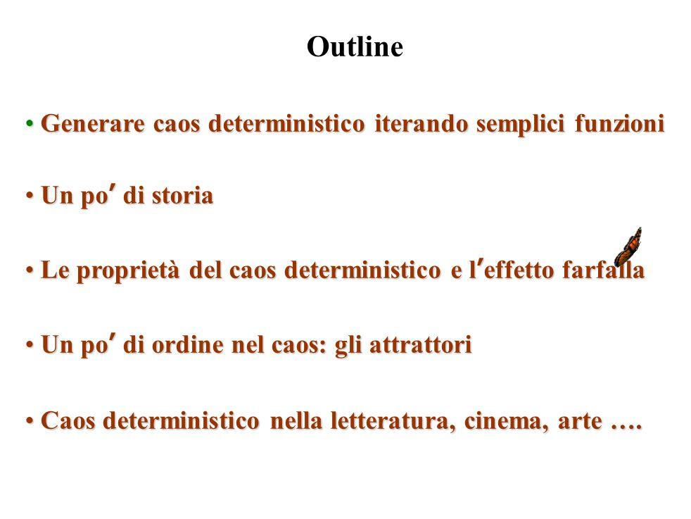 Outline Generare caos deterministico iterando semplici funzioni Generare caos deterministico iterando semplici funzioni Un po' di storia Un po' di sto