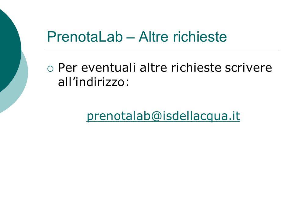  Per eventuali altre richieste scrivere all'indirizzo: prenotalab@isdellacqua.it PrenotaLab – Altre richieste