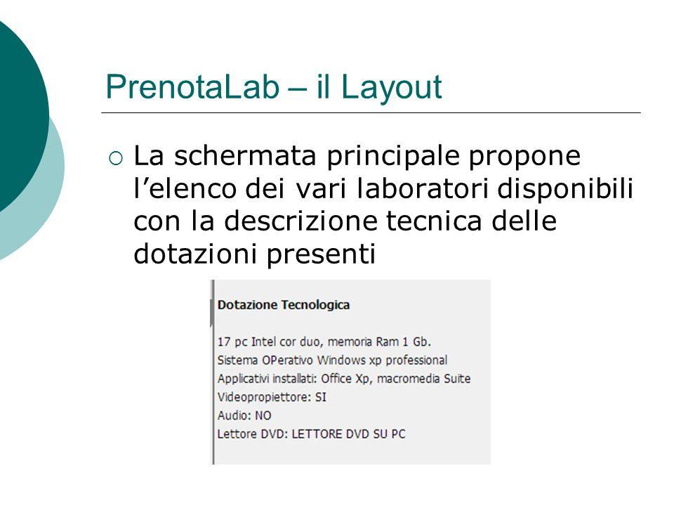 La schermata principale propone l'elenco dei vari laboratori disponibili con la descrizione tecnica delle dotazioni presenti PrenotaLab – il Layout