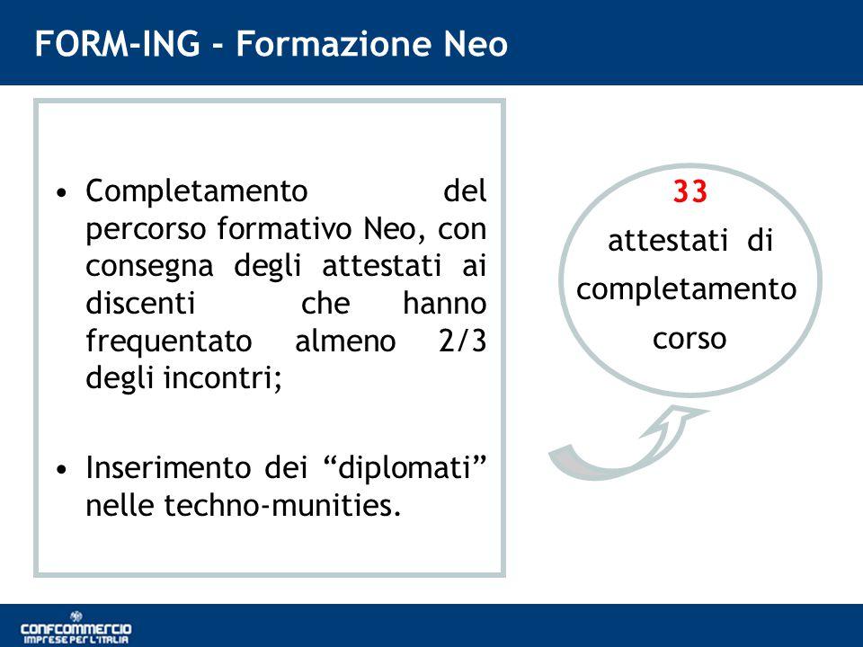 FORM-ING - Formazione Neo Completamento del percorso formativo Neo, con consegna degli attestati ai discenti che hanno frequentato almeno 2/3 degli incontri; Inserimento dei diplomati nelle techno-munities.