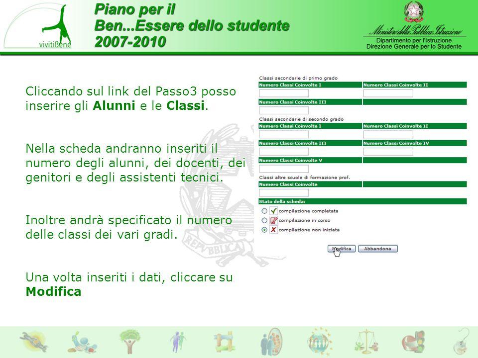 Cliccando sul link del Passo3 posso inserire gli Alunni e le Classi.