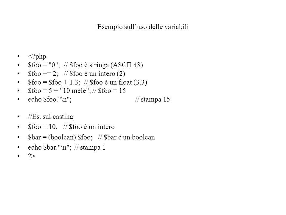 Esempio sull'uso delle variabili <?php $foo =