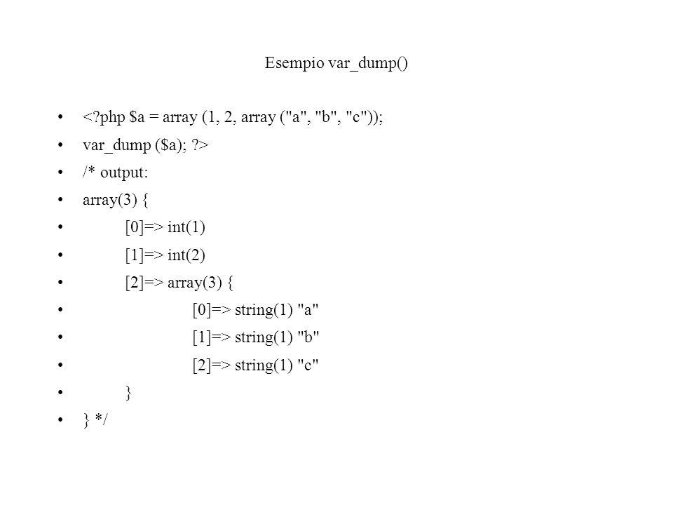Esempio var_dump() <?php $a = array (1, 2, array (