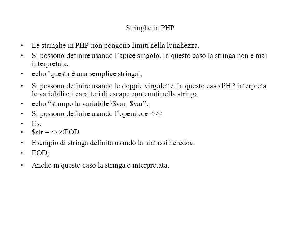 Stringhe in PHP Le stringhe in PHP non pongono limiti nella lunghezza.