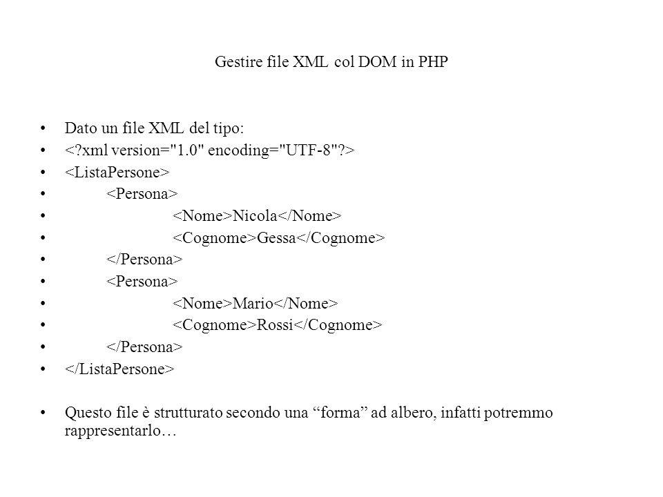 Gestire file XML col DOM in PHP Dato un file XML del tipo: Nicola Gessa Mario Rossi Questo file è strutturato secondo una forma ad albero, infatti potremmo rappresentarlo…