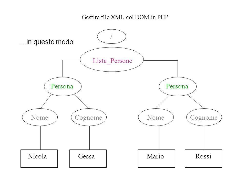 Gestire file XML col DOM in PHP …in questo modo Lista_Persone Persona Nome Cognome NicolaGessaMarioRossi /