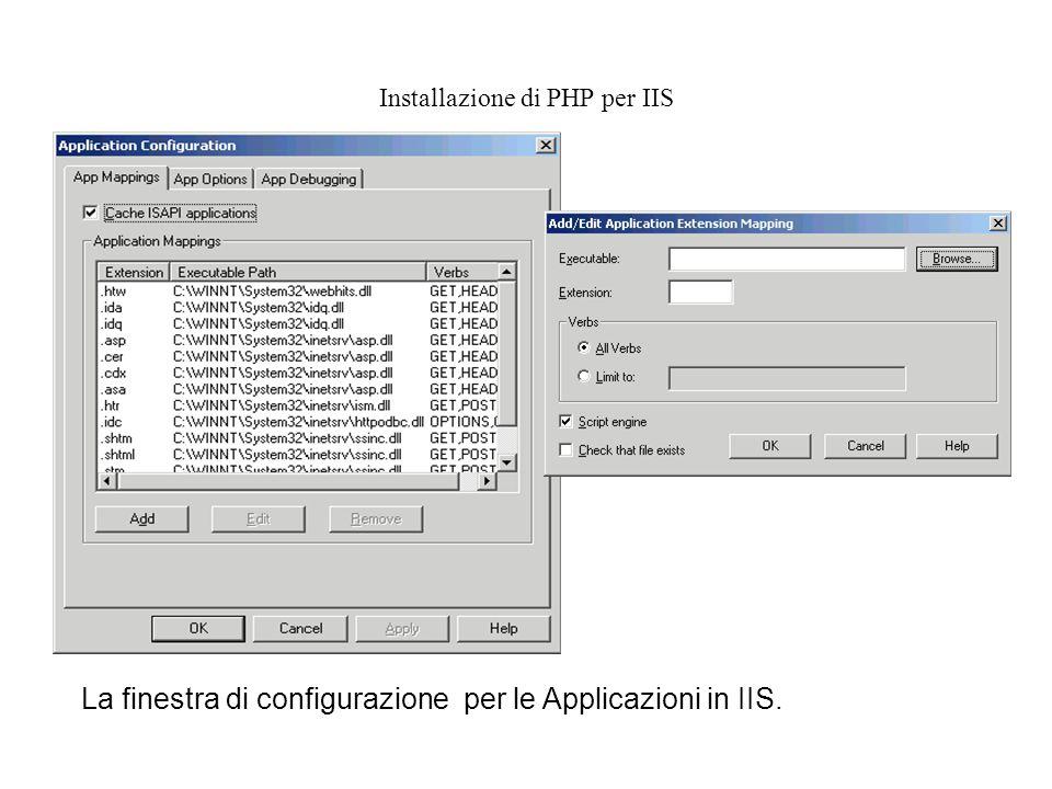 Installazione di PHP per IIS La finestra di configurazione per le Applicazioni in IIS.