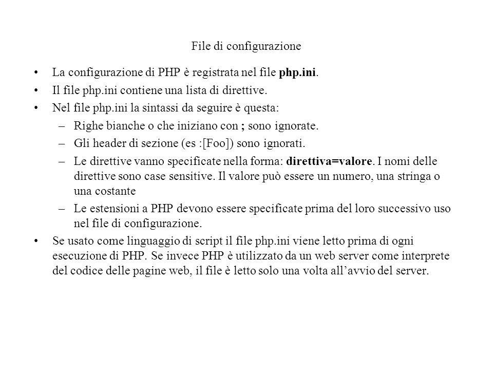 File di configurazione La configurazione di PHP è registrata nel file php.ini.