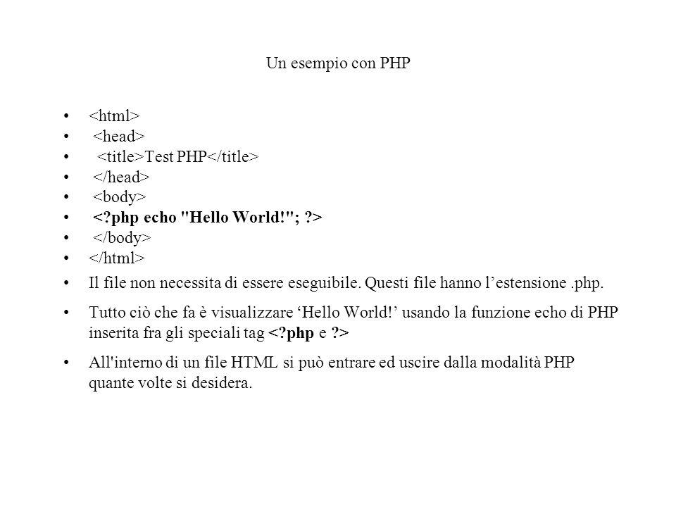 Uscire dalla modalità HTML Esistono 4 set di tag che possono essere utilizzati per delimitare blocchi di codice PHP: 1.