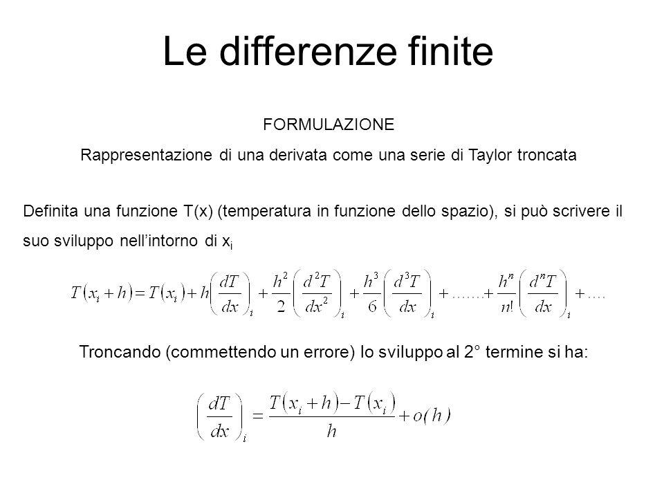 Le differenze finite FORMULAZIONE Rappresentazione di una derivata come una serie di Taylor troncata Definita una funzione T(x) (temperatura in funzio