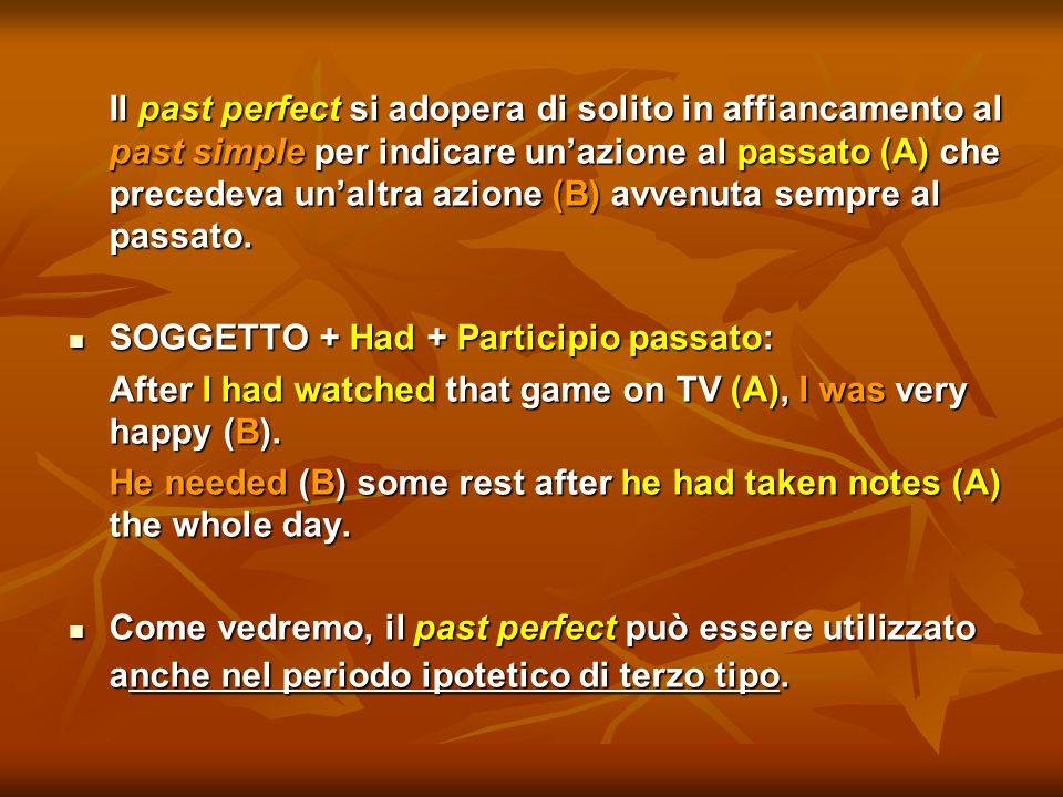Il past perfect si adopera di solito in affiancamento al past simple per indicare un'azione al passato (A) che precedeva un'altra azione (B) avvenuta