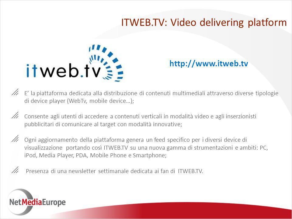 ITWEB.TV: Video delivering platform  E' la piattaforma dedicata alla distribuzione di contenuti multimediali attraverso diverse tipologie di device p
