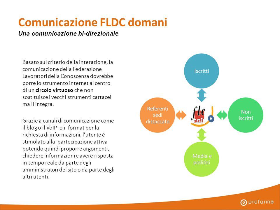 Comunicazione FLDC domani Basato sul criterio della interazione, la comunicazione della Federazione Lavoratori della Conoscenza dovrebbe porre lo strumento internet al centro di un circolo virtuoso che non sostituisce i vecchi strumenti cartacei ma li integra.