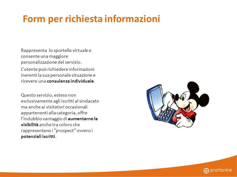 Form per richiesta informazioni Rappresenta lo sportello virtuale e consente una maggiore personalizzazione del servizio.