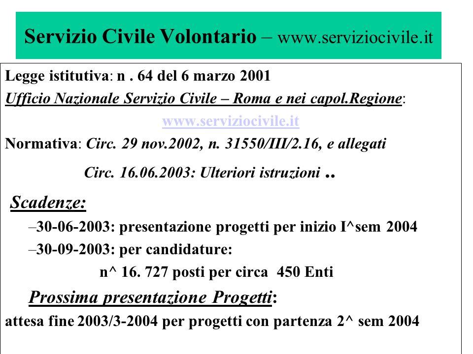 Servizio Civile Volontario – www.serviziocivile.it Volontari: 90 % donne Retribuzione: 434 Euro/mese x 12 mesi da parte UNSC Orario: 25 ore /settimana su 5 o 6 gg.