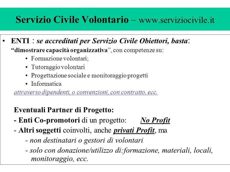 Servizio Civile Volontario – www.serviziocivile.it Progetti: –annuali o pluriannuali ( max.3 anni con fasi annuali ) –di Partecipazione : attività ordinaria dell'Ente: (max.4 Vol.) –Finalizzati: (minimo n.