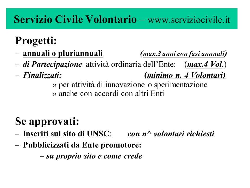 Servizio Civile Volontario – www.serviziocivile.it Progetti: –annuali o pluriannuali ( max.3 anni con fasi annuali ) –di Partecipazione : attività ord