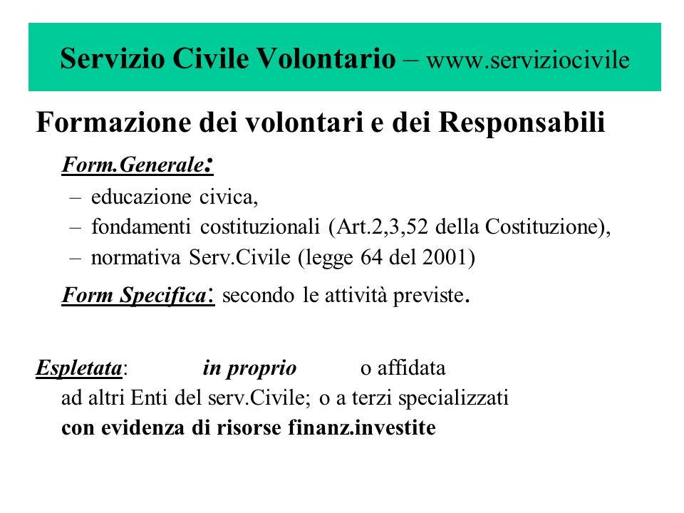 Servizio Civile Volontario – www.serviziocivile Formazione dei volontari e dei Responsabili Form.Generale : –educazione civica, –fondamenti costituzio