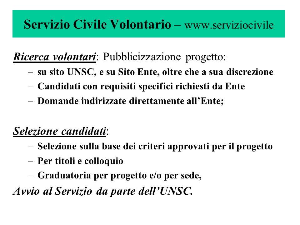 Servizio Civile Volontario – www.serviziocivile Ricerca volontari:Pubblicizzazione progetto: –su sito UNSC, e su Sito Ente, oltre che a sua discrezion