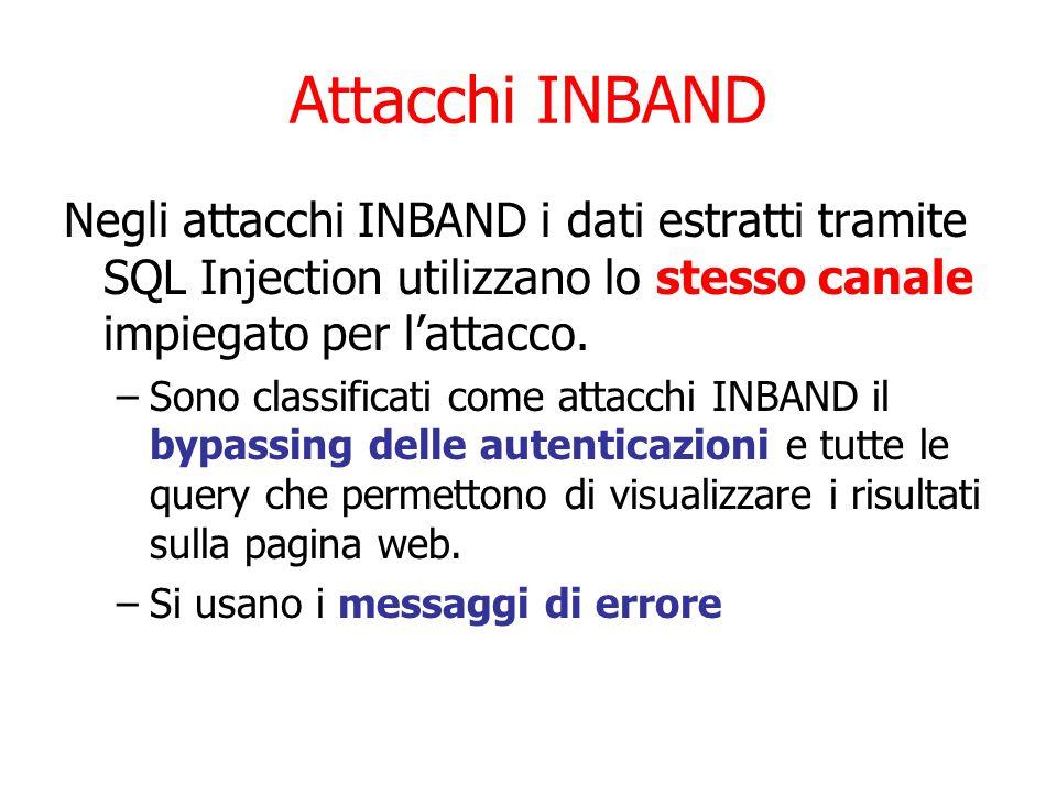 Attacchi INBAND Negli attacchi INBAND i dati estratti tramite SQL Injection utilizzano lo stesso canale impiegato per l'attacco.