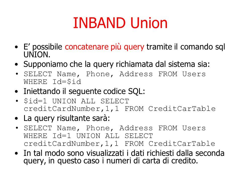 INBAND Union E' possibile concatenare più query tramite il comando sql UNION.