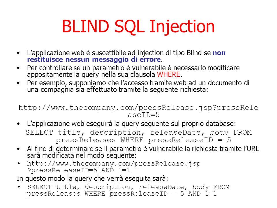 BLIND SQL Injection L'applicazione web è suscettibile ad injection di tipo Blind se non restituisce nessun messaggio di errore.