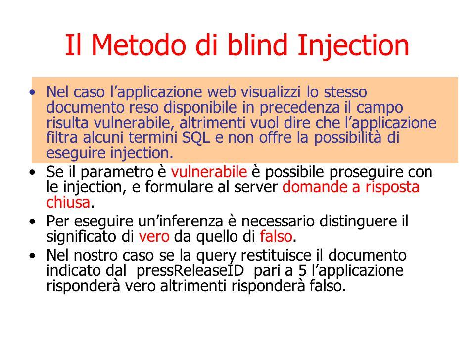 Il Metodo di blind Injection Nel caso l'applicazione web visualizzi lo stesso documento reso disponibile in precedenza il campo risulta vulnerabile, altrimenti vuol dire che l'applicazione filtra alcuni termini SQL e non offre la possibilità di eseguire injection.
