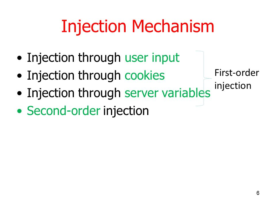 Injection Mechanism First-order injection The application processes the input, causing the attacker's injected SQL query to execute.