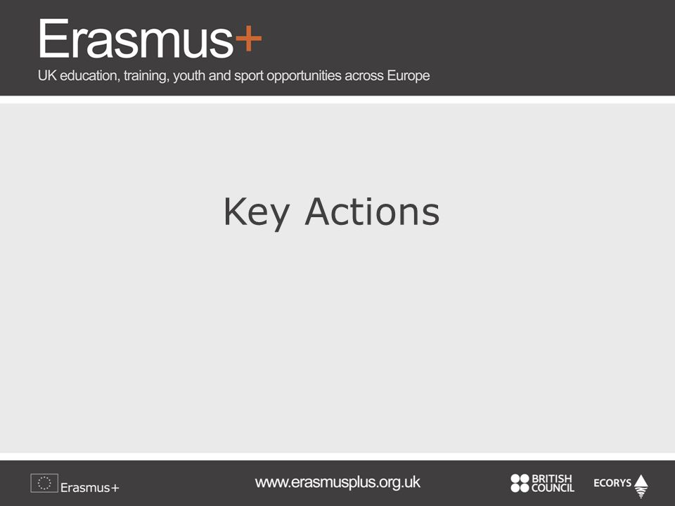Key Actions al Calvino Key Action 1: Learning Mobility of Individuals Key Action 2: Co-operation for Innovation and Exchange of Good Practices