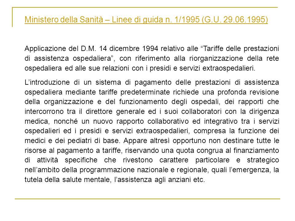 Ministero della Sanità – Linee di guida n. 1/1995 (G.U.