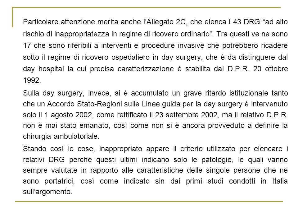 Particolare attenzione merita anche l'Allegato 2C, che elenca i 43 DRG ad alto rischio di inappropriatezza in regime di ricovero ordinario .