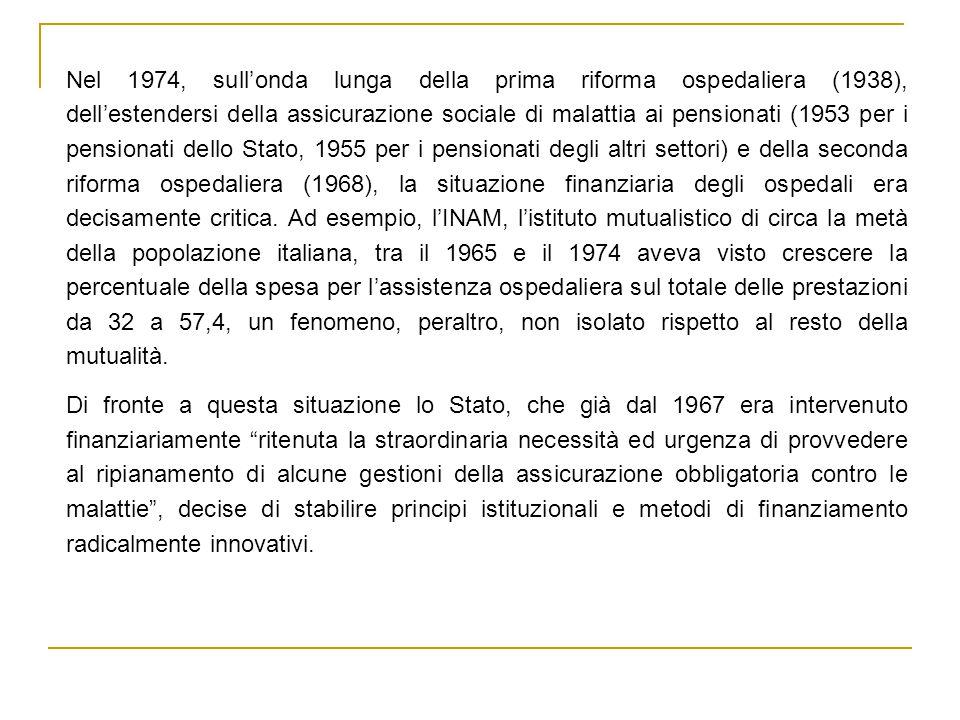 Nel 1974, sull'onda lunga della prima riforma ospedaliera (1938), dell'estendersi della assicurazione sociale di malattia ai pensionati (1953 per i pensionati dello Stato, 1955 per i pensionati degli altri settori) e della seconda riforma ospedaliera (1968), la situazione finanziaria degli ospedali era decisamente critica.
