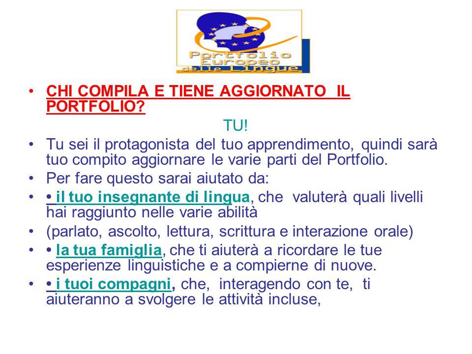 CHI COMPILA E TIENE AGGIORNATO IL PORTFOLIO.TU.