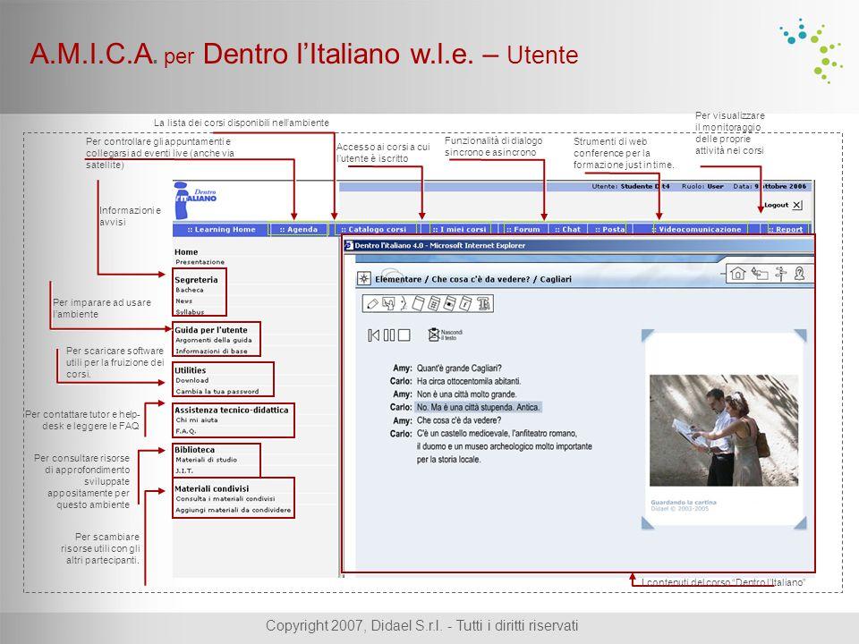 Copyright 2007, Didael S.r.l.- Tutti i diritti riservati A.M.I.C.A.