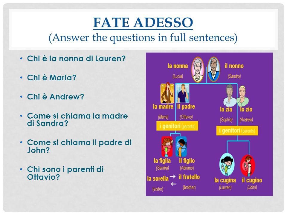 ITALIAN 2 - CAP. 5 GLI AGGETTIVI POSSESSIVI