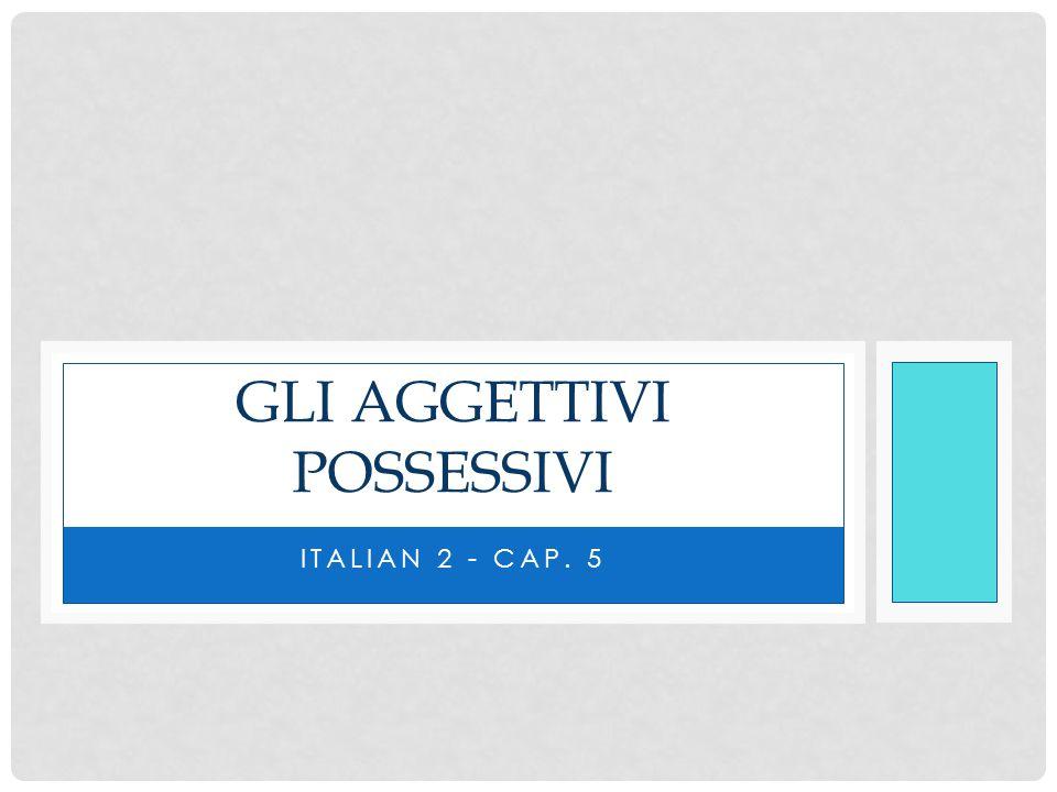 AGGETTIVI POSSESSIVI Possessive adjectives, aggettivi possessivi, are used to indicate possession.