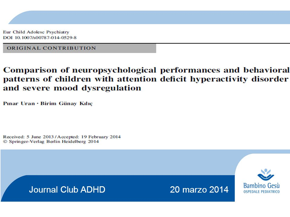 Journal Club ADHD 20 marzo 2014