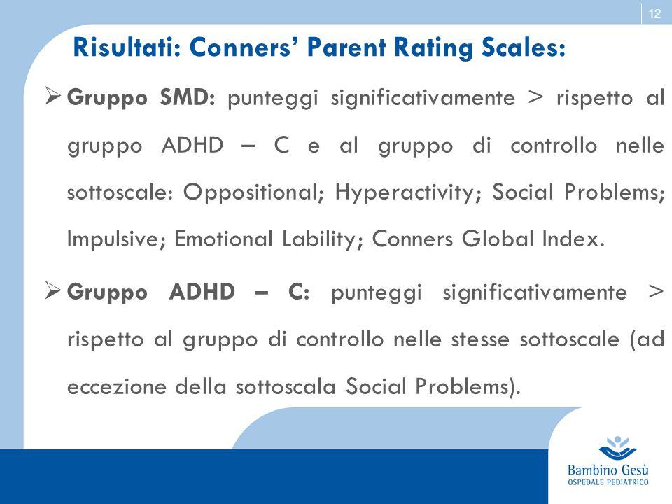 12 Risultati: Conners' Parent Rating Scales:  Gruppo SMD: punteggi significativamente > rispetto al gruppo ADHD – C e al gruppo di controllo nelle so