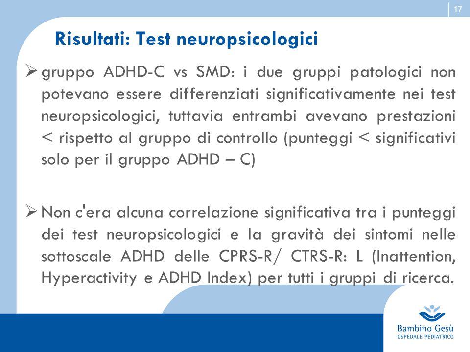 17 Risultati: Test neuropsicologici  gruppo ADHD-C vs SMD: i due gruppi patologici non potevano essere differenziati significativamente nei test neur