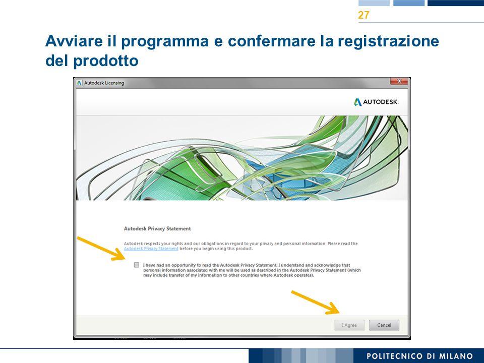 Avviare il programma e confermare la registrazione del prodotto 27