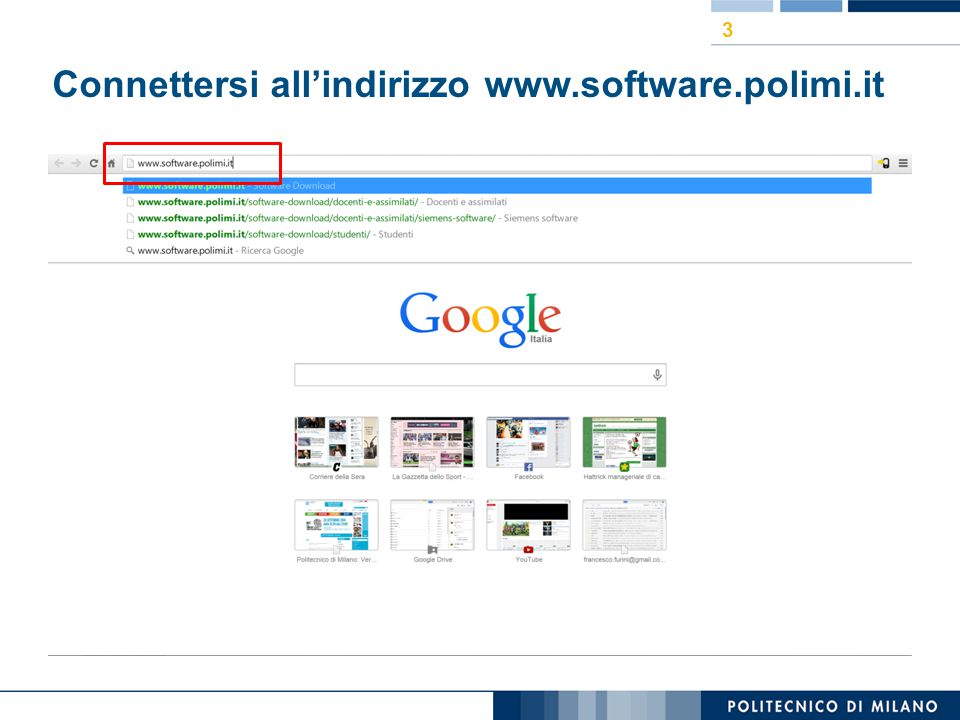 Connettersi all'indirizzo www.software.polimi.it 3