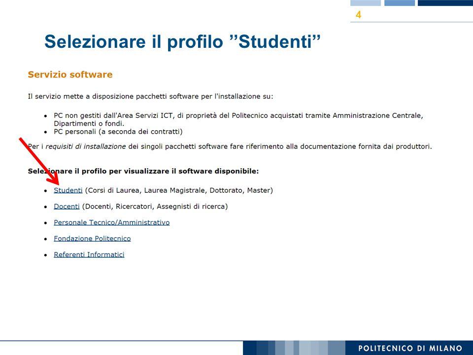 Selezionare il profilo ''Studenti'' 4