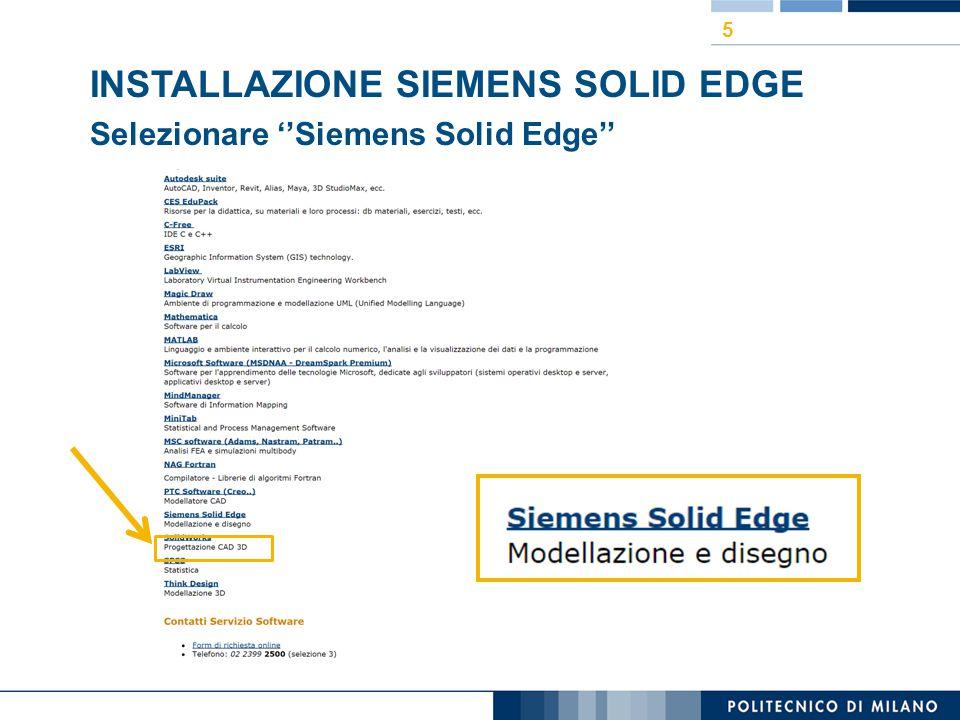 INSTALLAZIONE SIEMENS SOLID EDGE Selezionare ''Siemens Solid Edge'' 5