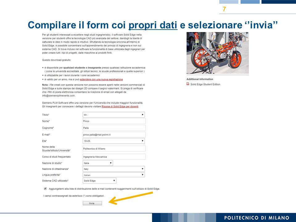 Compilare il form coi propri dati e selezionare ''invia'' 7