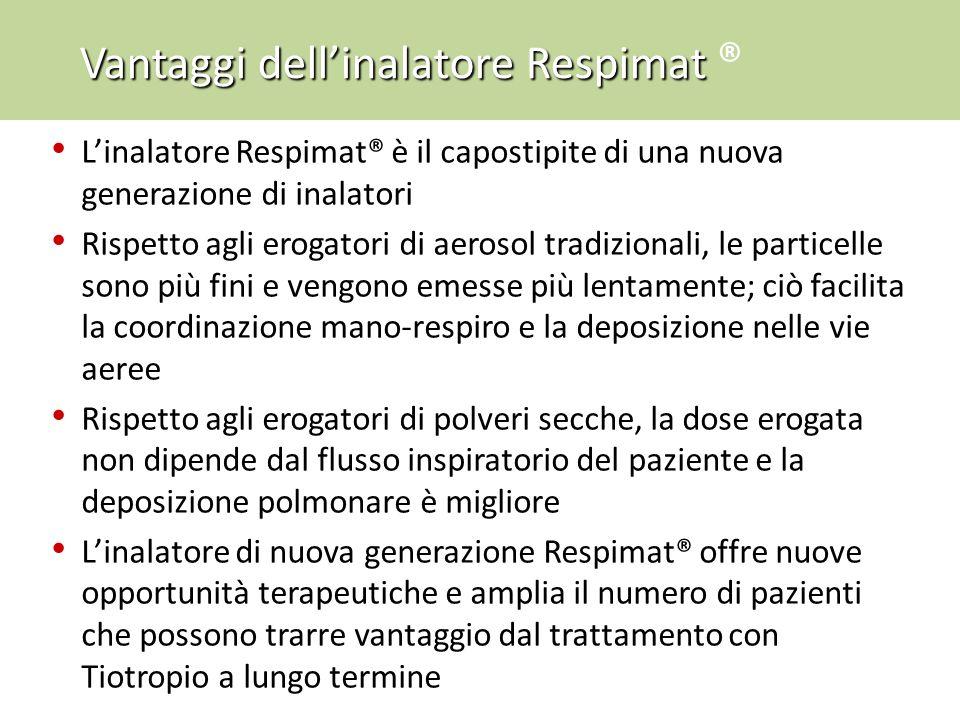 L'inalatore Respimat® è il capostipite di una nuova generazione di inalatori Rispetto agli erogatori di aerosol tradizionali, le particelle sono più f