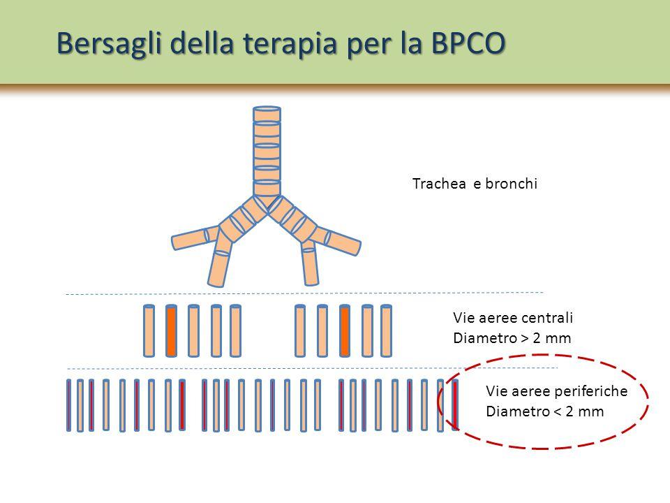Bersagli della terapia per la BPCO Trachea e bronchi Vie aeree centrali Diametro > 2 mm Vie aeree periferiche Diametro < 2 mm